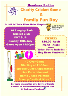 Charity Cricket Event and Family Fun Day *Third Party Event*