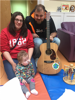 Signed Guitar by The Shires, is music to Baby Hospice's ears.